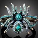 Luxusní zlatý masivní náramek, modrý pavouk Swarovski krystal B0777