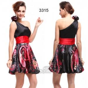 Sexy koktejlové saténové černé šaty Ever Pretty s ornamenty 3315